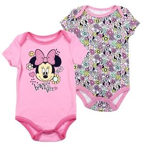 Flowery Minnie Mouse Baby Girls Pink Bodysuits-2